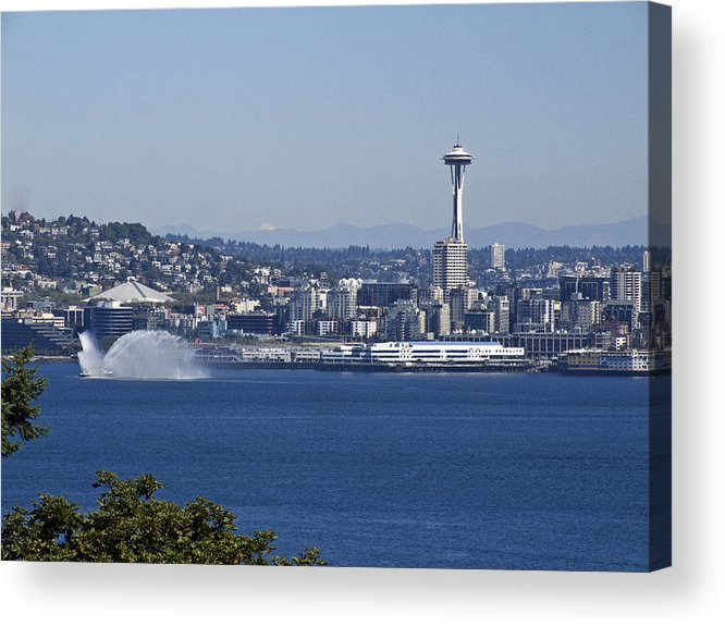 Seattle Acrylic Print featuring the photograph Seattle Space Needle And Fire Boat by Ron Roberts