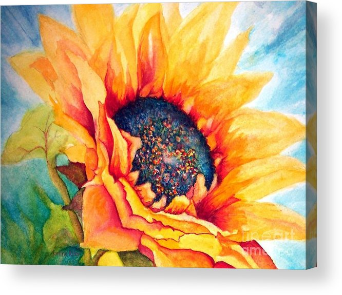 Sunflower Acrylic Print featuring the painting Sunflower Joy by Janine Riley