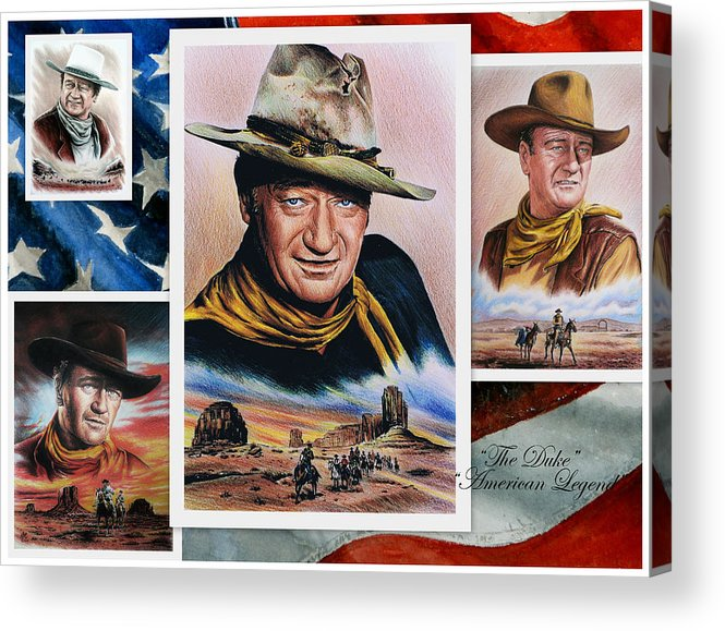 John Wayne Acrylic Print featuring the painting The Duke American Legend by Andrew Read