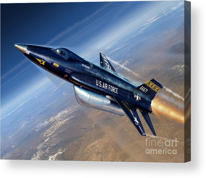 X-15 Acrylic Print featuring the digital art To The Edge Of Space - The X-15 by Stu Shepherd