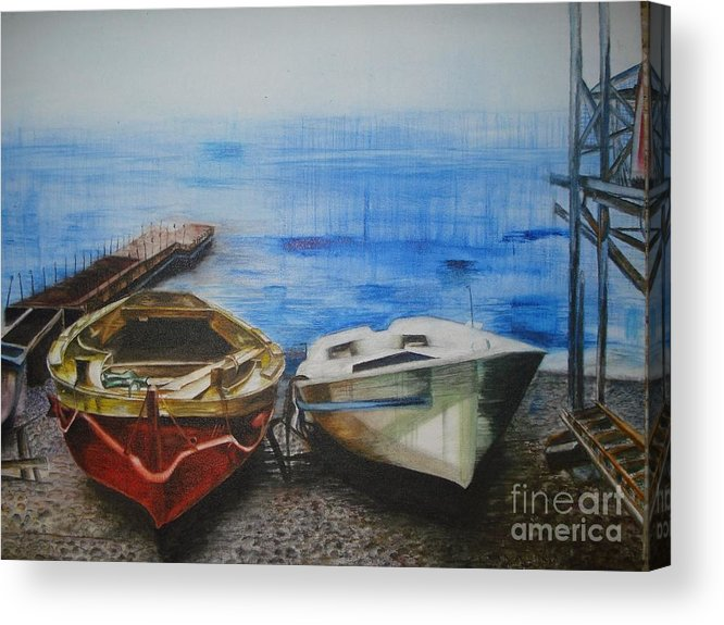 Landscape Acrylic Print featuring the painting Tranquility Till Tide From The Farewell Songs by Prasenjit Dhar