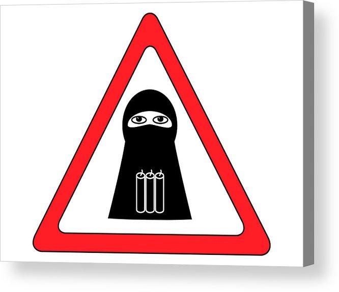 Anti-terror Acrylic Print featuring the digital art Warning Shahid Sign by Aleksey Tugolukov