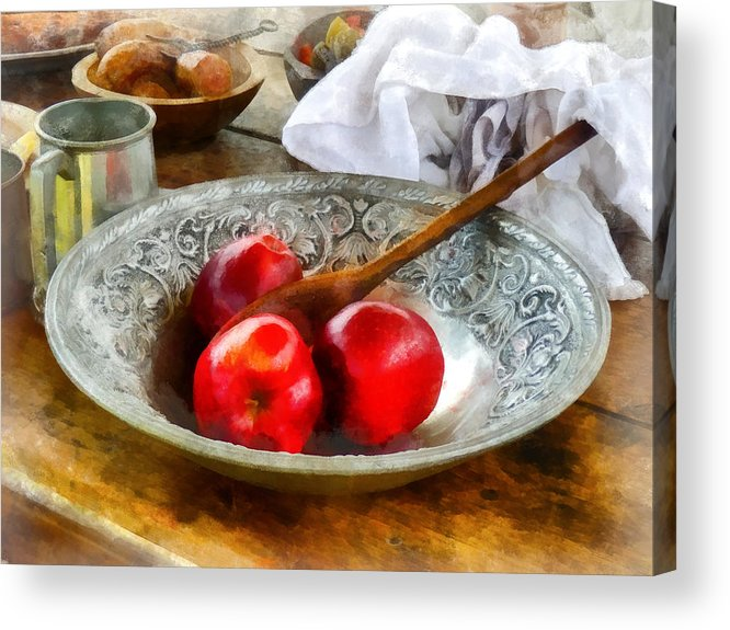 Meal Acrylic Print featuring the photograph Apples In A Silver Bowl by Susan Savad