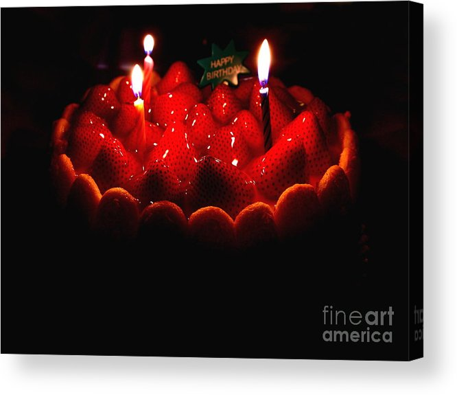 Cake Acrylic Print featuring the photograph Happy Birthday Strawberry Charlotte Cake by Wingsdomain Art and Photography