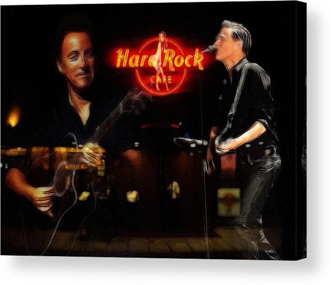 Bruce Springsteen Bryan Adams Hard Rock Cafe Oil Painting Famous Star Stars Musican Music Concert Acrylic Print featuring the painting In The Hard Rock Cafe by Stefan Kuhn
