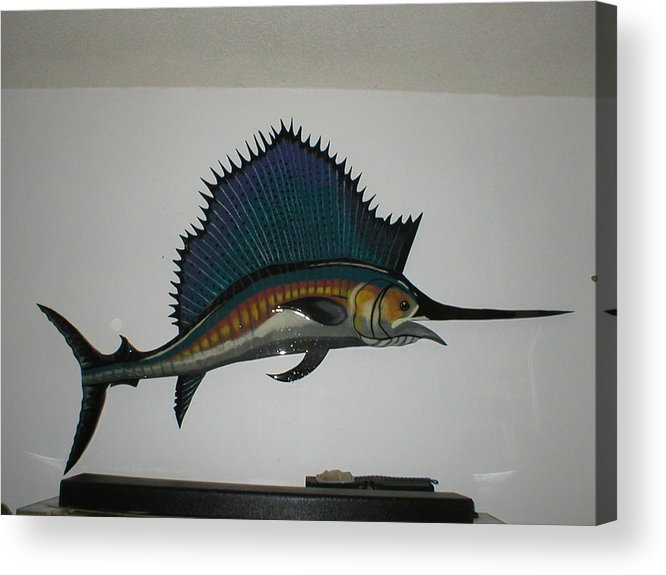 Sailfish Acrylic Print featuring the mixed media Sailfish by Val Oconnor