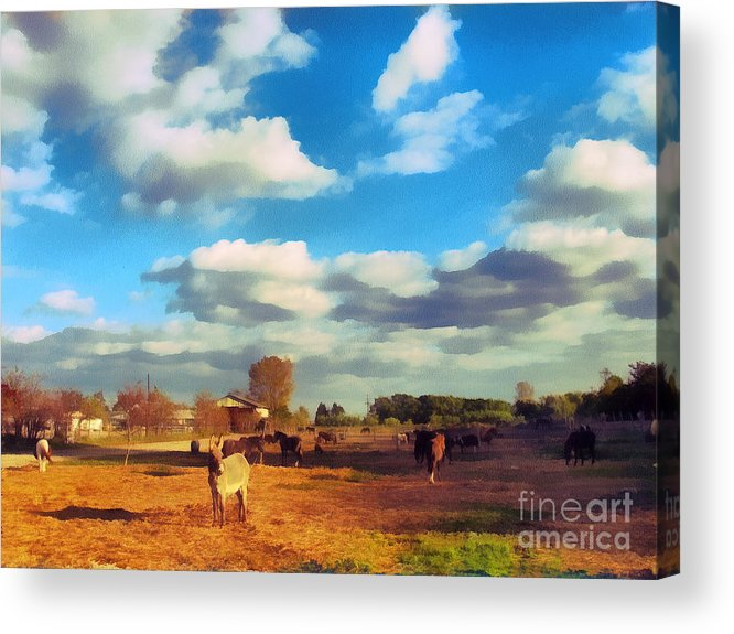 Odon Acrylic Print featuring the painting The Farm by Odon Czintos