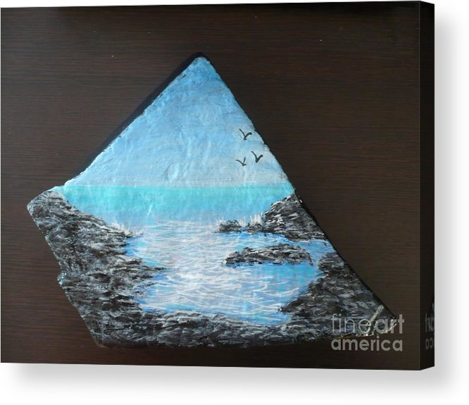 Rock Acrylic Print featuring the painting Water With Rocks by Monika Shepherdson