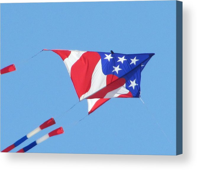 Kite Fyling Acrylic Print featuring the photograph American Flag Kite by Gregory Smith