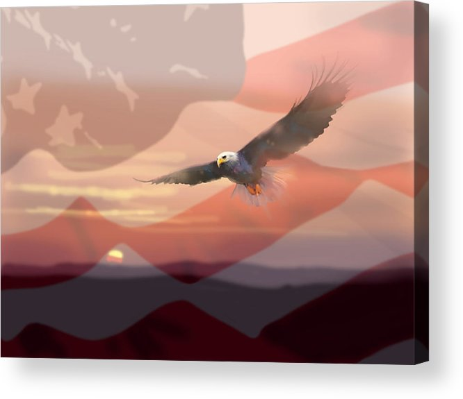 Eagle Acrylic Print featuring the painting And The Eagle Flies by Paul Sachtleben