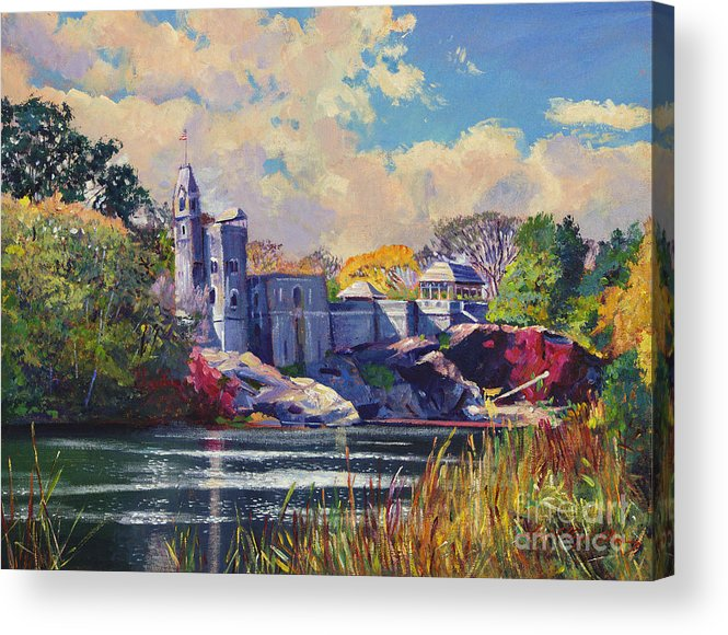 Landscape Acrylic Print featuring the painting Belvedere Castle Central Park by David Lloyd Glover