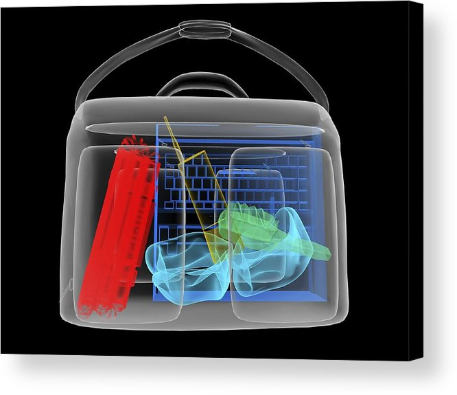 Explosives Acrylic Print featuring the photograph Bomb Inside Briefcase, Simulated X-ray by Christian Darkin