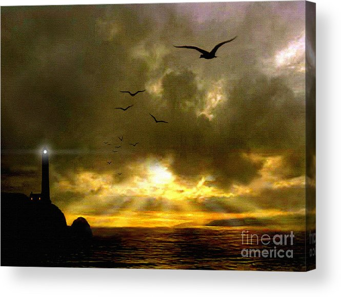 Seascape Acrylic Print featuring the painting Gull Flight by Robert Foster