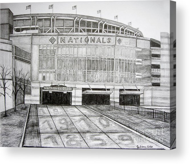 Nationals Park Acrylic Print featuring the drawing Nationals Park by Juliana Dube