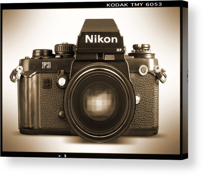 Vintage Nikon F3 Hp Acrylic Print featuring the photograph Nikon F3 Hp by Mike McGlothlen