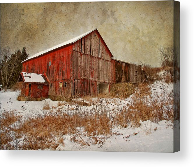 Red Barn White Snow Acrylic Print by Larry Marshall