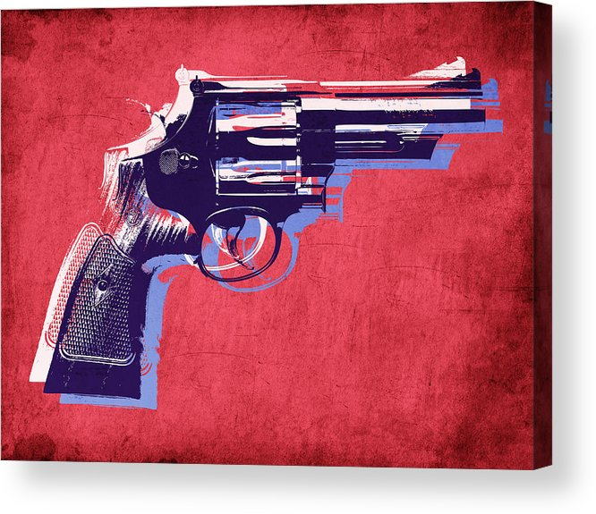 Revolver Acrylic Print featuring the digital art Revolver On Red by Michael Tompsett