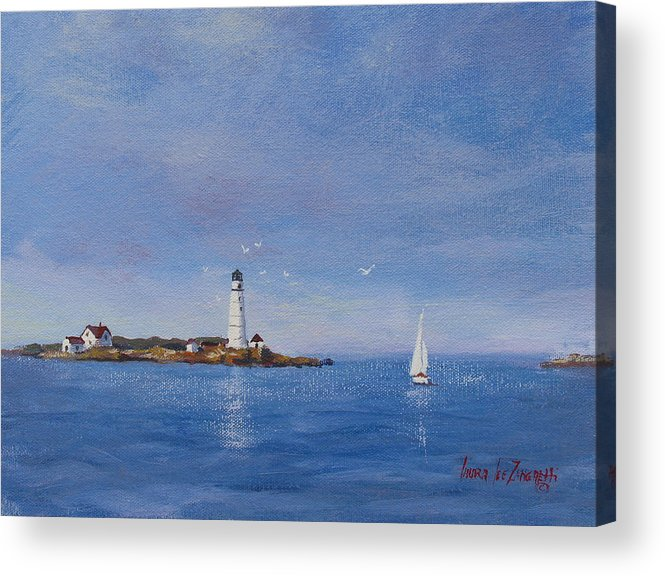 Seascape Acrylic Print featuring the painting Sailing To Boston Light by Laura Lee Zanghetti