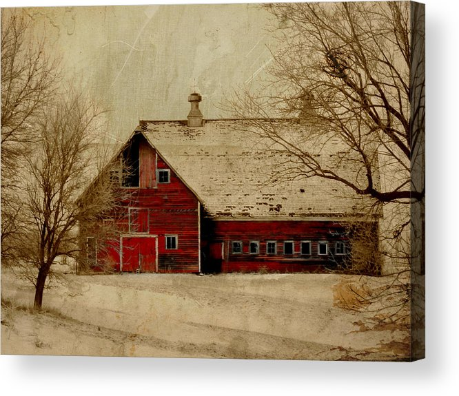 Red Acrylic Print featuring the digital art South Dakota Barn by Julie Hamilton