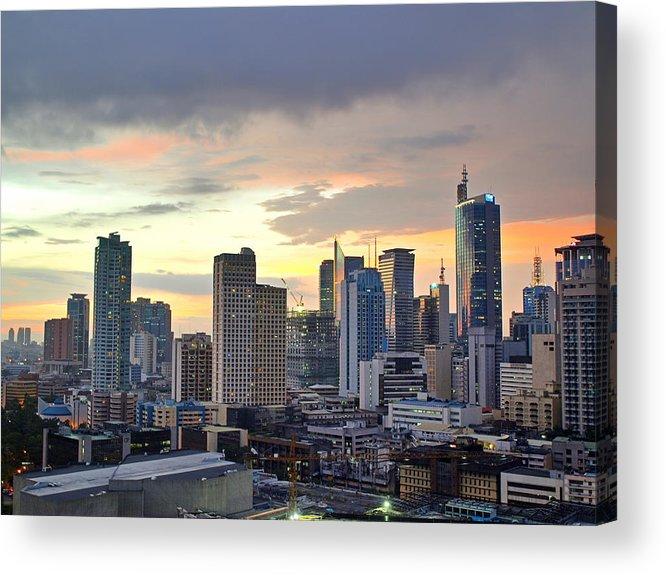 Horizontal Acrylic Print featuring the photograph Sunset Over Makati City, Manila by Neil Howard
