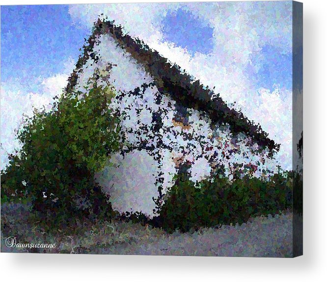 Country Acrylic Print featuring the photograph Thatched Country House Impressionist Painting by Dawn Hay