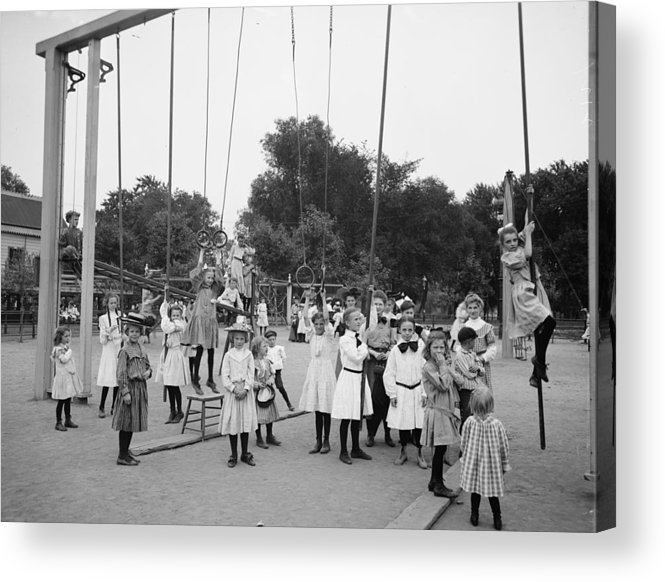 Girl Girls Children Playground Photograph Vintage 1899 Acrylic Print featuring the photograph Girls Playground 1899 by Steve K