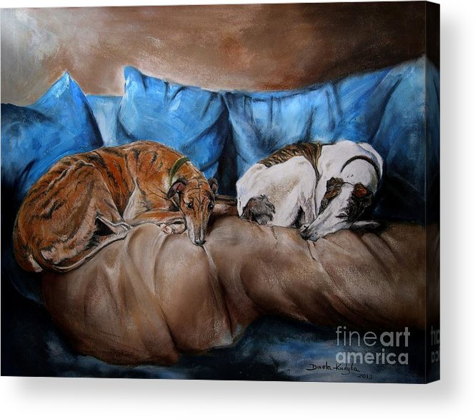 Dog Acrylic Print featuring the painting Resting Time by Dorota Kudyba