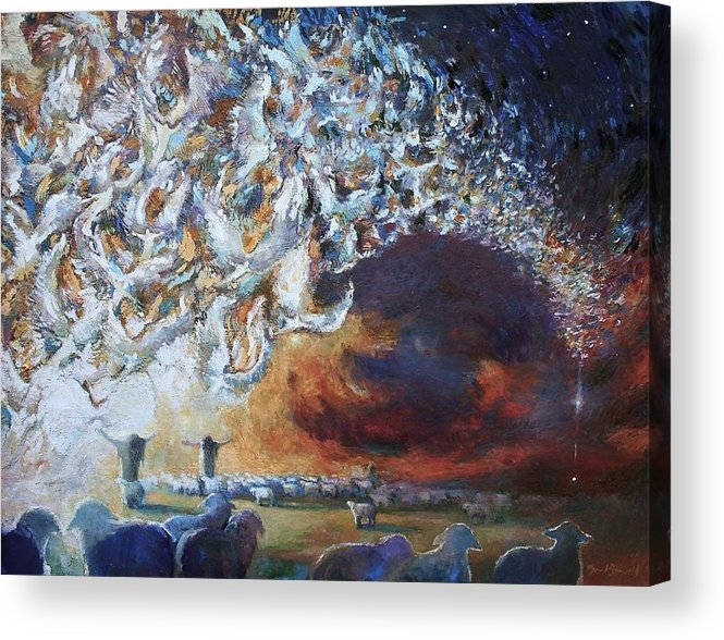 Christmas Acrylic Print featuring the painting Seeing Shepherds by Daniel Bonnell