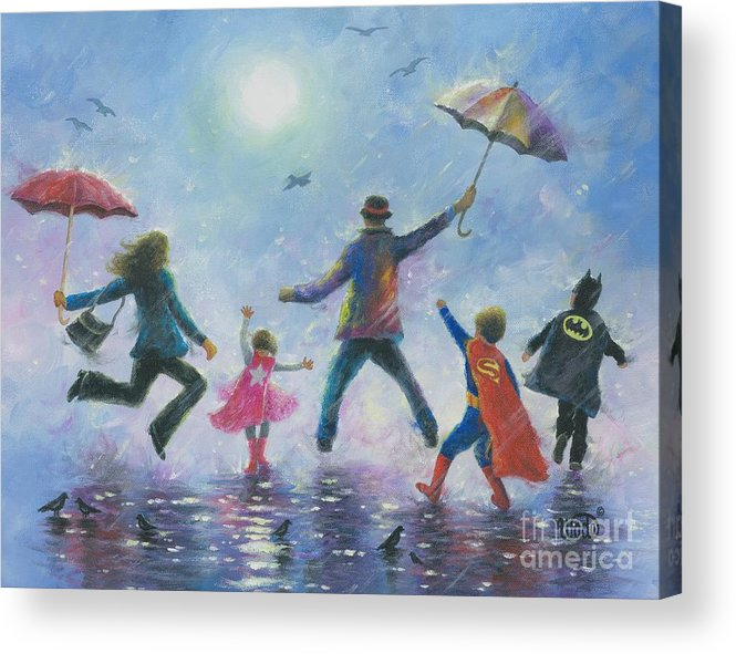 Happy Family Acrylic Print featuring the painting Singing In The Rain Super Hero Kids by Vickie Wade
