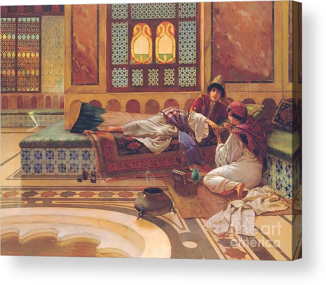 Manicure; Beauty; Spa; Treatment; Pampering; Leisure; Grooming; Female; Interior; Bath; Reclining; Nails; Nail Care; Exotic; Orientalist; Oriental; Tiles; Tiled; Stained Glass; Luxury; Opluent; Concubine; Odalisque; Harem; Relaxation; Manicurist; Beautician; Reclining Acrylic Print featuring the painting The Manicure by Rudolphe Ernst