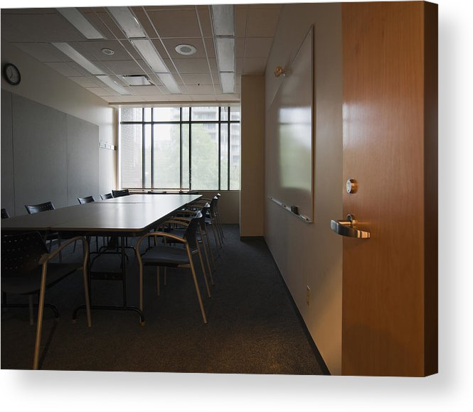 Mood Acrylic Print featuring the photograph An Office Interior. Door Open To Empty by Marlene Ford