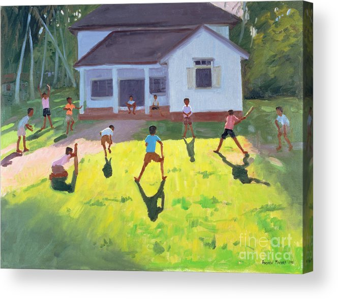 Children Acrylic Print featuring the painting Cricket by Andrew Macara