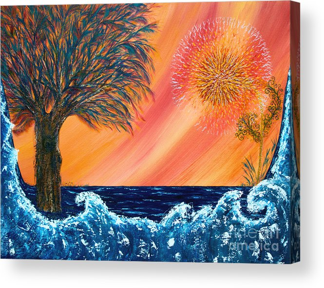 Sky Acrylic Print featuring the painting Europa Tsunami by Pm Ernst