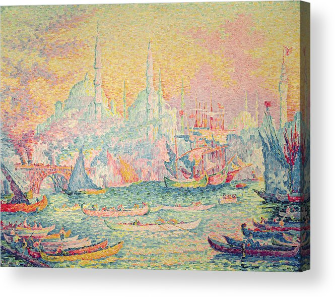 Neo-impressionist; Pointillist; Landscape; Hagia; Byzantine Architecture; Rowing Boat; Minaret; Constantinople Acrylic Print featuring the painting Istanbul by Paul Signac