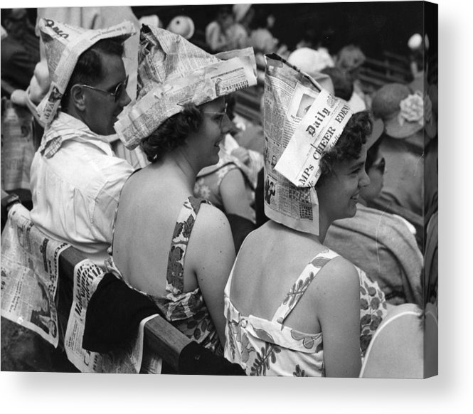 20-24 Years Acrylic Print featuring the photograph Newspaper Hats by Fox Photos