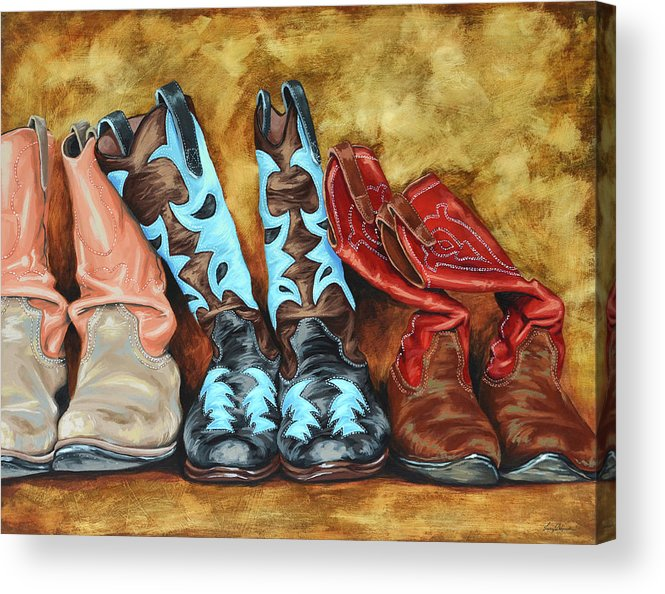 Western Acrylic Print featuring the painting Boots by Lesley Alexander
