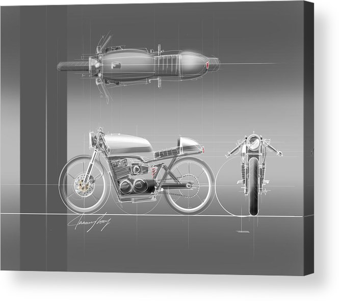 Hot Rod Acrylic Print featuring the drawing Cafe Racer by Jeremy Lacy