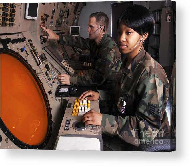 Horizontal Acrylic Print featuring the photograph Control Technicians Use Radarscopes by Stocktrek Images