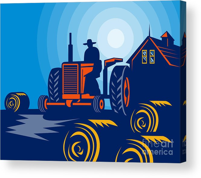 Tractor Acrylic Print featuring the digital art Farmer Driving Vintage Tractor by Aloysius Patrimonio
