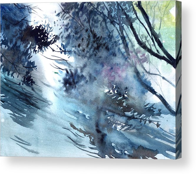 Floods Acrylic Print featuring the painting Flooding by Anil Nene