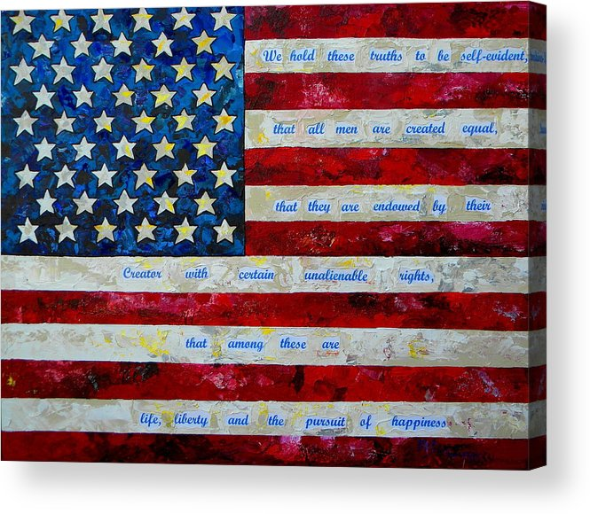 American Flag Acrylic Print featuring the painting I Believe by Patti Schermerhorn