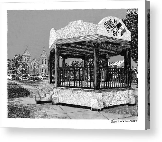 Framed Prints Of Old Mesilla Acrylic Print featuring the drawing Old Mesilla Plaza And Gazebo by Jack Pumphrey