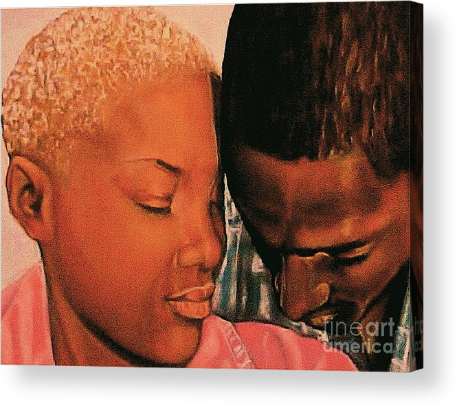 Talk To Me Baby Acrylic Print featuring the pastel Talk To Me Baby II by Curtis James