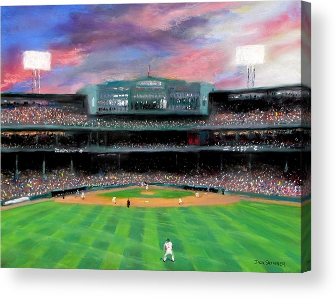 Baseball Acrylic Print featuring the painting Twilight At Fenway Park by Jack Skinner