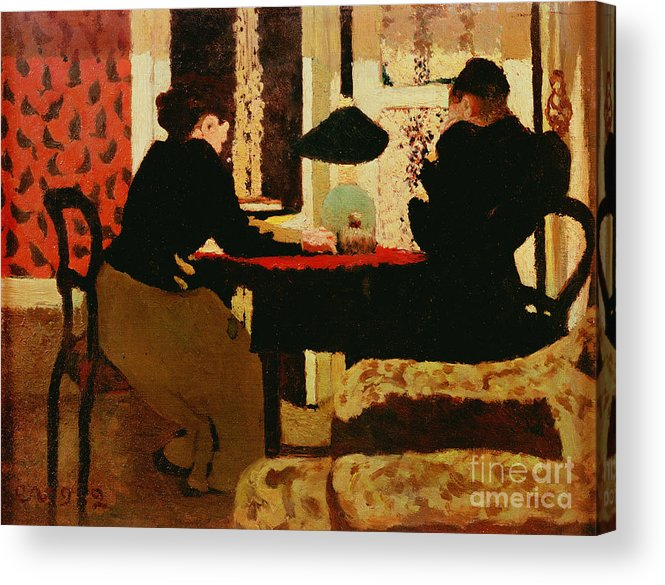 Women Acrylic Print featuring the painting Women By Lamplight by vVuillard