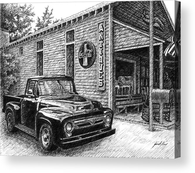Ford Truck Acrylic Print featuring the drawing 1956 Ford F-100 Truck by Janet King
