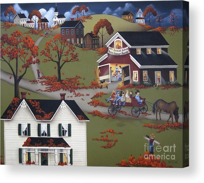 Art Acrylic Print featuring the painting Annual Barn Dance And Hayride by Catherine Holman
