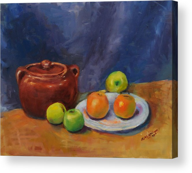 Still Life Acrylic Print featuring the painting Bean Pot And Fruit by Susie Jernigan