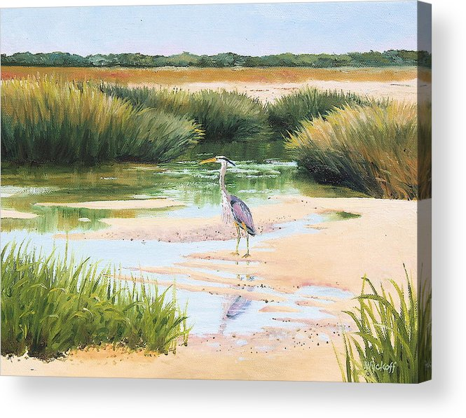 Marsh Acrylic Print featuring the painting Blue Heron by Karol Wyckoff