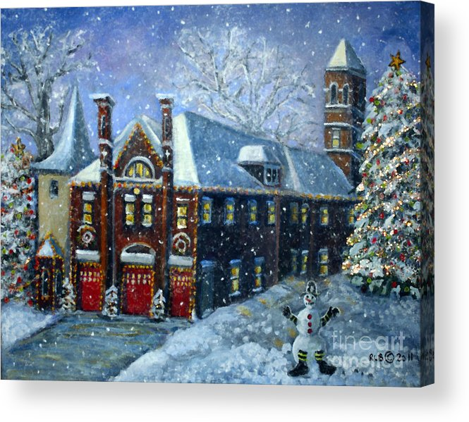 Waltham Acrylic Print featuring the painting Christmas At The Fire House by Rita Brown